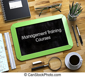Small Chalkboard with Management Training Courses. 3d.