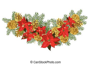 Vintage Christmas garland with golden pine cones and red...