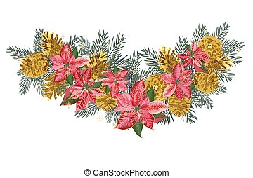 Vintage Christmas garland with golden pine cones and pink...