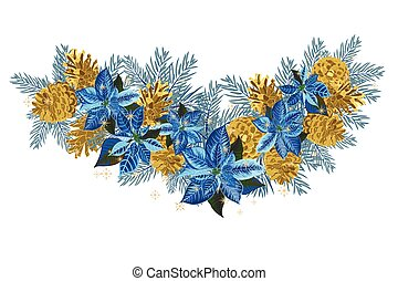 Vintage Christmas garland with golden pine cones and blue...