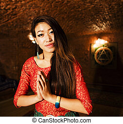 beauty real asian girl greeting, vietnameese spa, lifestyle travel people concept