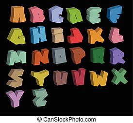 3D graffiti color fonts alphabet over black