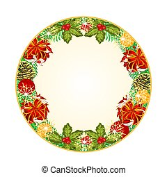 Button circular Christmas with red ribbons and pine cones...