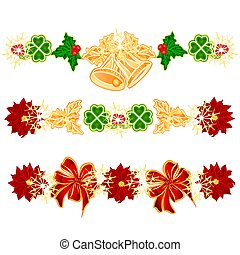 Christmas decoration garlands with bells and leaf clovers set of four vector.eps