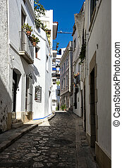 Sitges, Spain - Narrow medieval street in Old Sigest town