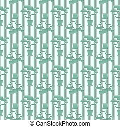 Houseplant seamless pattern - Green geometric houseplant...