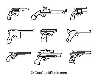 plano, armas de fuego, contorno, pistolas, Conjunto,...