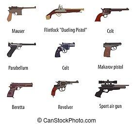 arma de fuego, Conjunto, armas de fuego, pistolas,...