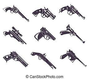 plano, arma de fuego, revólver, Conjunto, diseño, pistola,...