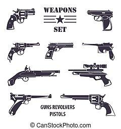 plano, armas de fuego, pistolas, Conjunto, Revólveres,...