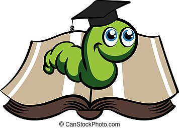 Vector green bookworm in the hat on white background