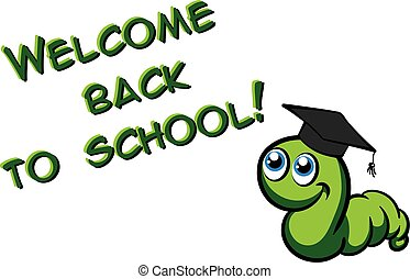 Vector green bookworm in the hat - Welcome back to school....