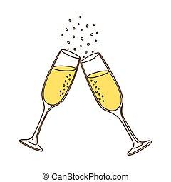 Champagne glasses. Vector illustration