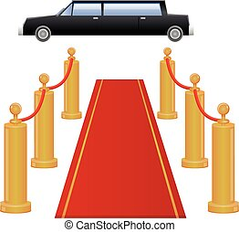 Red carpet entrance and limousine - Vector illustration of...