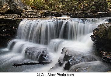 Waterfall on Deckers Creek near Masontown WV - Cascade of...