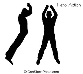 man in Hero Action pose