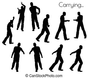 man in Carrying Action pose - EPS 10 vector illustration of...