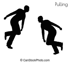 man in Pulling Action pose - EPS 10 vector illustration of...