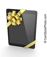 Black tablet with bow. 3D rendering. - Black tablet with...