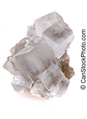 halite salt cubes isolated on the white background