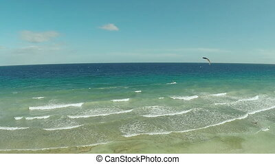 Kitesurfing on the coast of the Philippines. Aerial views 7...