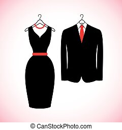 Elegant suits icons in flat style.