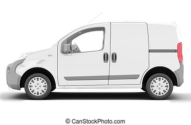 Urgent van to transport goods. White delivery van isolated.