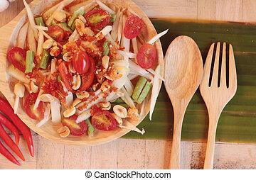 Spicy papaya salad is delicious ,thai food - Spicy papaya...