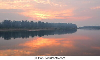 river at dawn - landscape with river at dawn