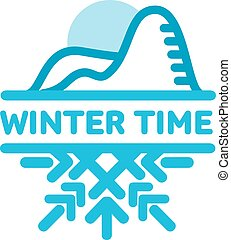 Blue wintertime sticker. Cold mountains. Winter, christmas,...