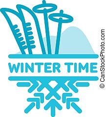 Blue wintertime sticker. Mountains and skiing. Winter,...