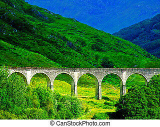 The Famous viaduct in Glennfinnan, West Highlands of...