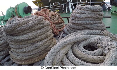 Ship ropes on ferry - Ship ropes on the deck of the ferry