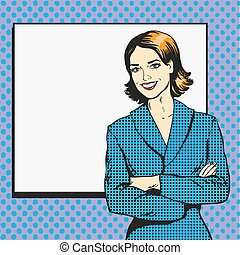 Woman with blank white paper poster. Pop art comic retro...