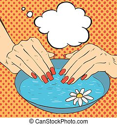 Manicure and nails care concept vector illustration in comic pop art style