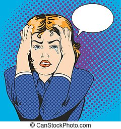 Woman in stress and crying. Vector illustration in comic...