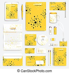 Yellow set of vector corporate identity template. Modern medical stationery mock-up. Branding design with molecule. Medicine, science, technology concept.