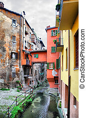 Old canal in Bologna - View of canal in the old town of...