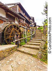 Turning Waterwheel Stone Steps Magome Nakasendo V
