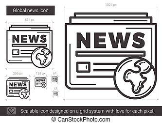 Global news line icon.