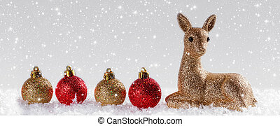 Christmas background with reindeer and Christmas balls....