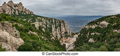 Monastery of Montserrat panorama in Catalonia - Top View...