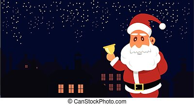 Vector Illustration of Santa Claus in front of the City....