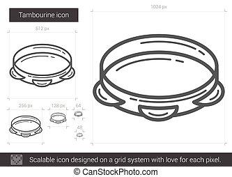 Tambourine line icon. - Tambourine vector line icon isolated...