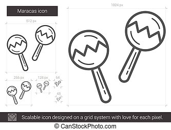 Maracas line icon. - Maracas vector line icon isolated on...