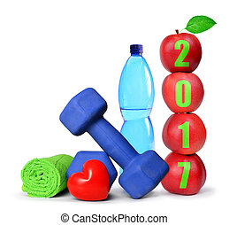 Red apples and dumbbells - Red apples, dumbbells and PET...
