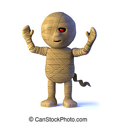 3d Egyptian mummy monster cheers with joy - 3d render of an...
