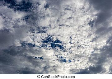 藍色, 天空, 云霧
