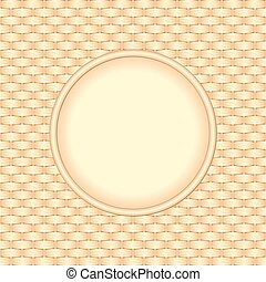 wicker background with round banner