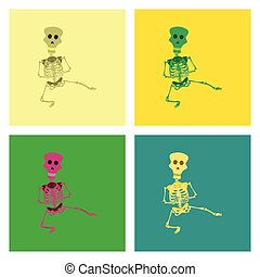 assembly flat illustration skeleton Halloween monster -...